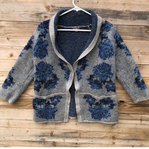 J. Jill | Wool Blend Blue Gray Floral Sweater